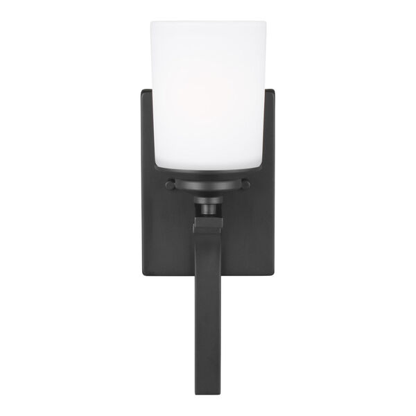 Kemal Midnight Black One-Light Bath Vanity with Etched White Inside Shade Energy Star, image 1