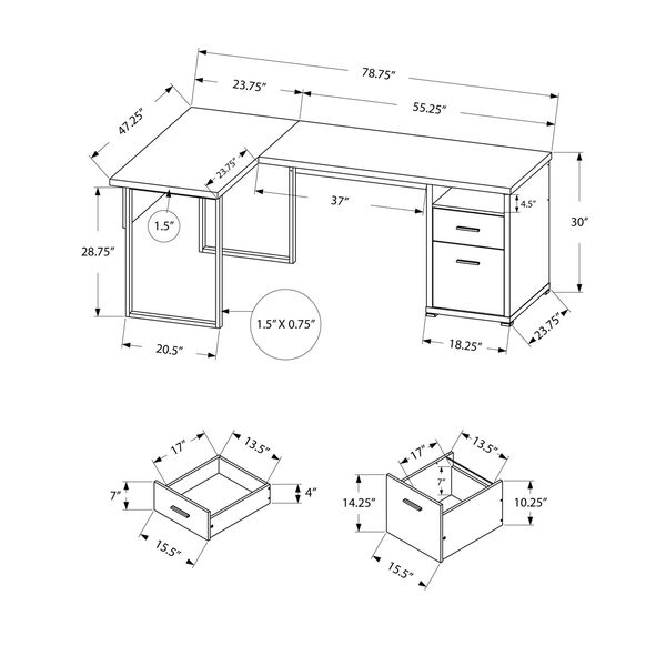 Black and Gray 47-Inch Computer Desk with Side Drawers, image 5