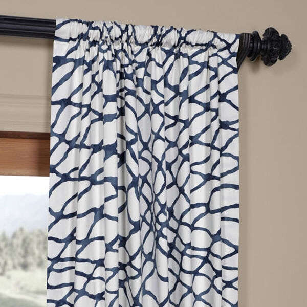 Ocean Blue 120 x 50 In. Printed Cotton Twill Curtain Single Panel, image 3