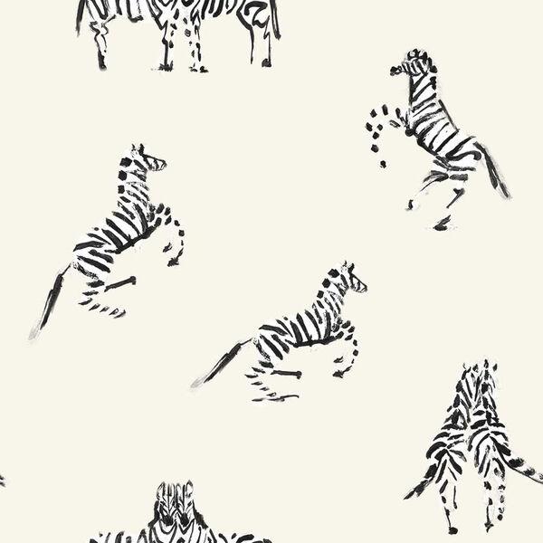 Novogratz White Zebras in Love Waverly Peel and Stick Wallpaper, image 2