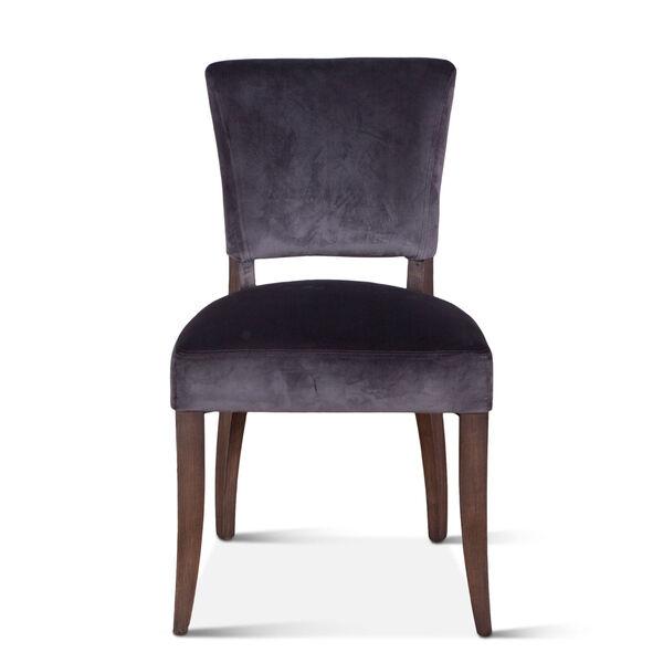 Portia Asphalt Gray and Weathered Teak Velvet Side Chair, Set of 2, image 1