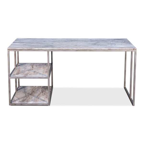 Silver Open Desk With Shelves, image 2