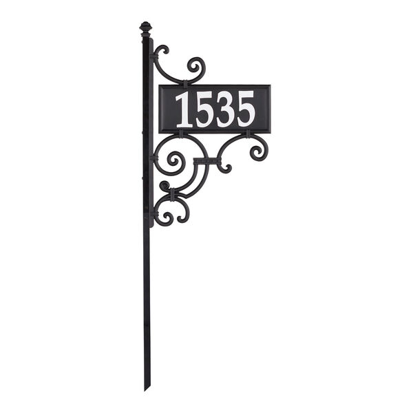 Nite Bright Black White Ironwork Reflective Address Post Sign, image 3