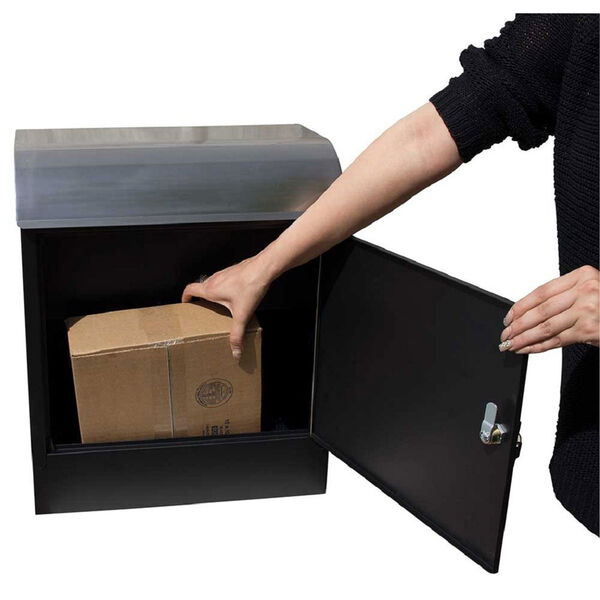 Selma Locking Mail and Parcel Box Black with Stainless Steel, image 3