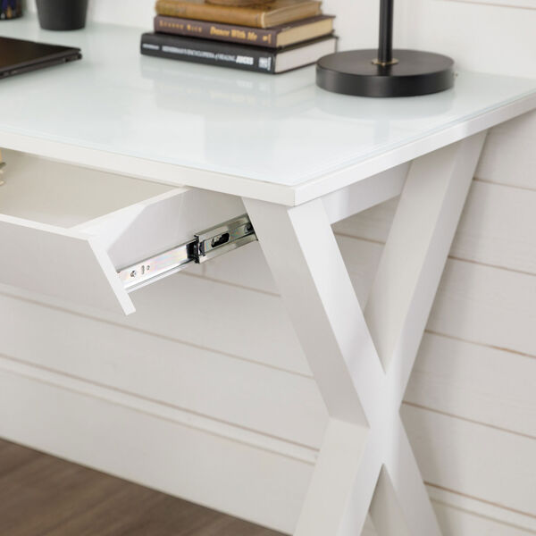 Home Office 48-inch White Glass Computer Desk, image 8