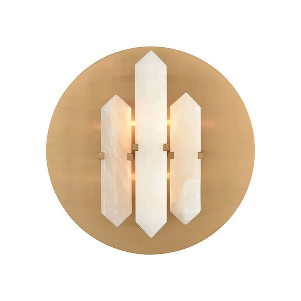 Annees Folles White and Aged Brass Two-Light Wall Sconce, image 1