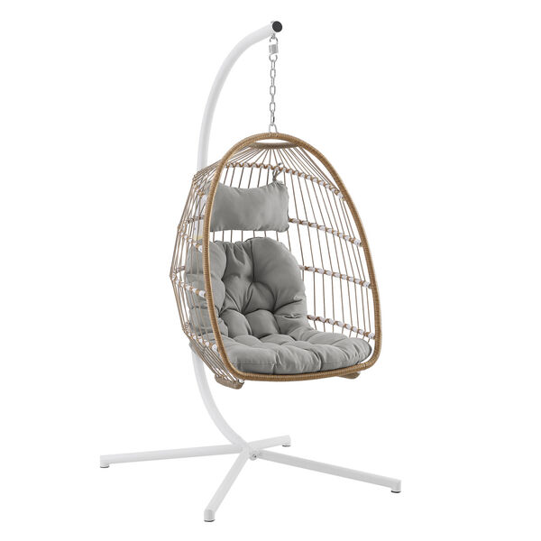 Brown and Gray Outdoor Swing Egg Chair with Stand, image 1