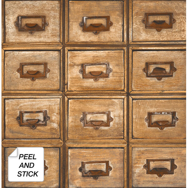 NextWall Library Card Catalog Peel and Stick Wallpaper, image 2