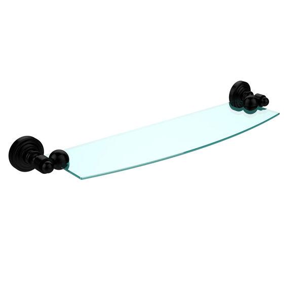Waverly Place Matte Black 18 Inch x 5 Inch Glass Shelf, image 1