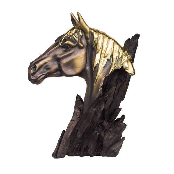 Bronze and Carbon Black Horse Head Stand, image 1