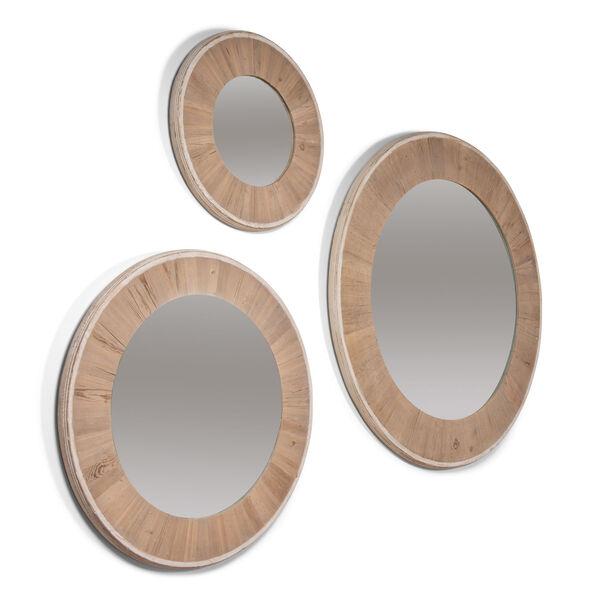 White 30 x 30 Inches Circular Wood Mirror, image 4