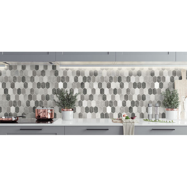 NextWall Gray Brushed Hex Tile Peel and Stick Wallpaper, image 1