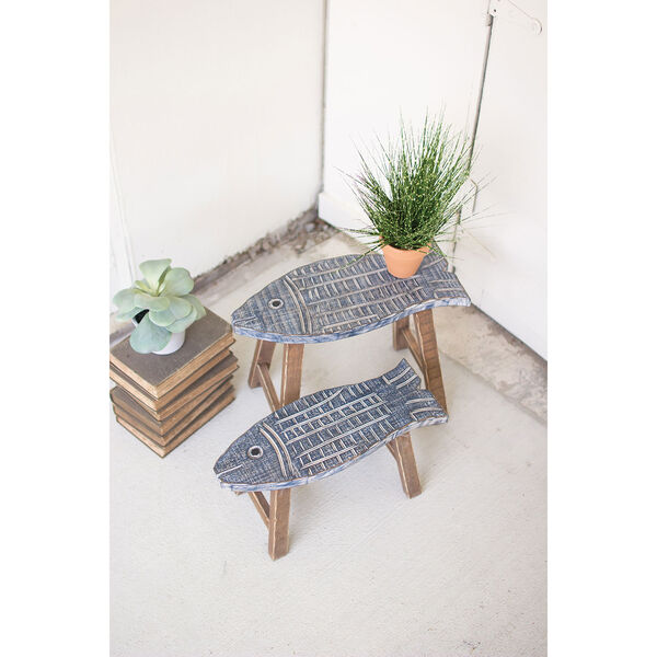 Set of Two Wooden Fish Stools, image 1
