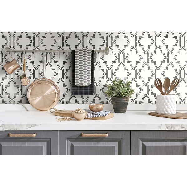 NextWall Black and White Tile Trellis Peel and Stick Wallpaper, image 1
