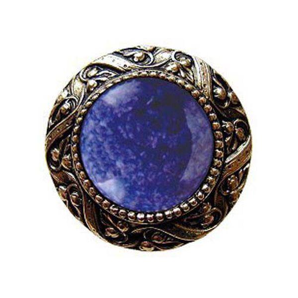 Brite Brass Victorian Jeweled Knob with Blue Sodalite Stone , image 1