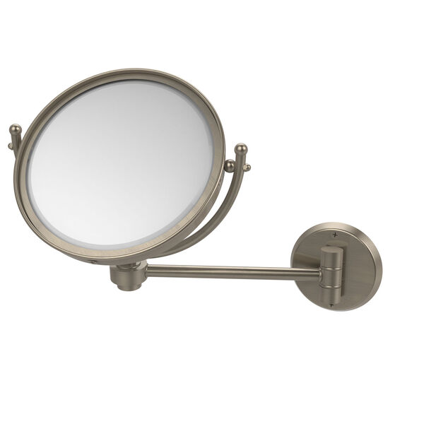 Antique Pewter Eight-Inch Wall Mounted Make-Up Mirror 2X Magnification, image 1