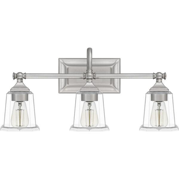 Nicholas Brushed Nickel Three-Light Bath Vanity with Transparent Glass, image 6