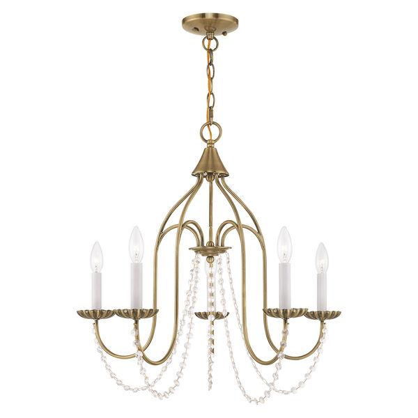 Alessia Antique Brass 24-Inch Five-Light Chandelier, image 1