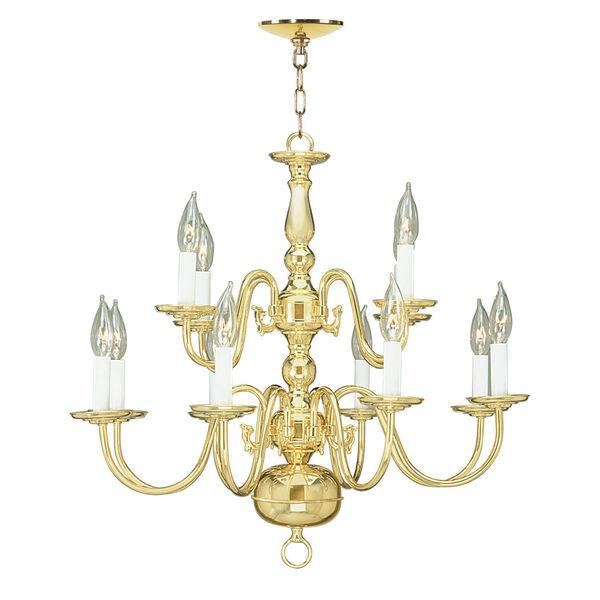 Williamsburgh Twelve-Light Polished Brass Chandelier, image 2