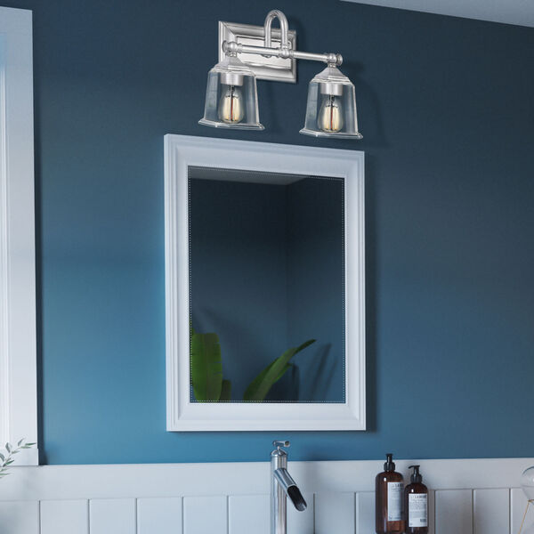 Nicholas Polished Chrome Two-Light Bath Vanity with Transparent Glass, image 7