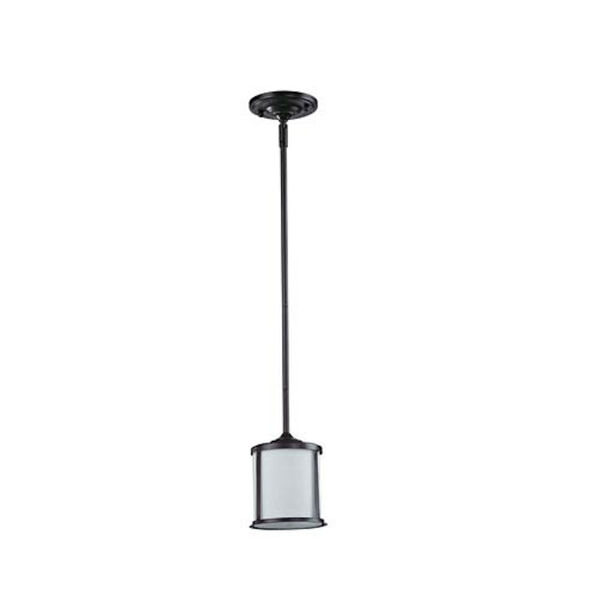 Sonna One-Light Bronze Mini Pendant with Matte Opal Glass Shade, image 1