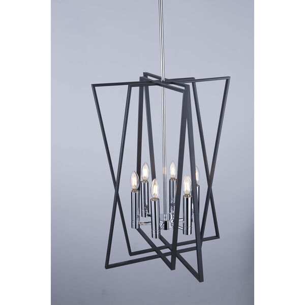 Middleton Matte Black and Polished Chrome Six-Light Geometric Chandelier, image 6