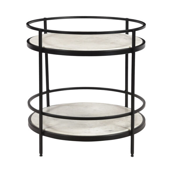 Black and White Round Accent Table, image 2