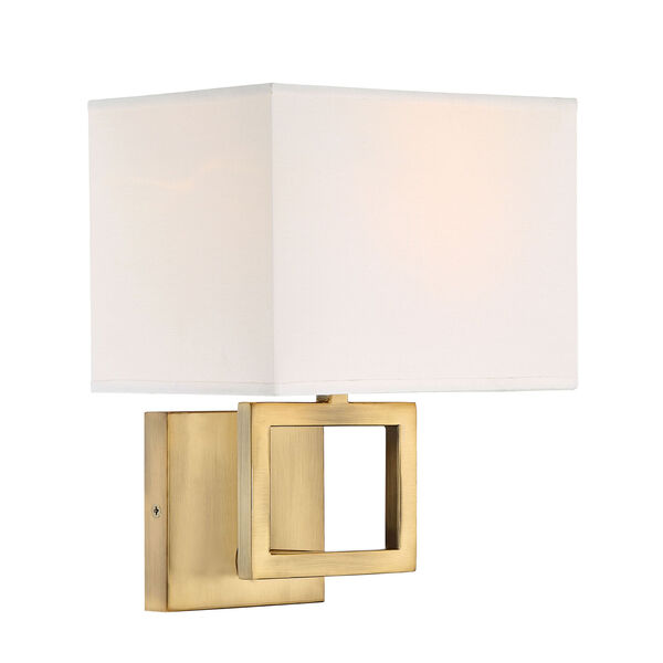Uptown Natural Brass One-Light Wall Sconce with Square White Fabric Shade, image 2
