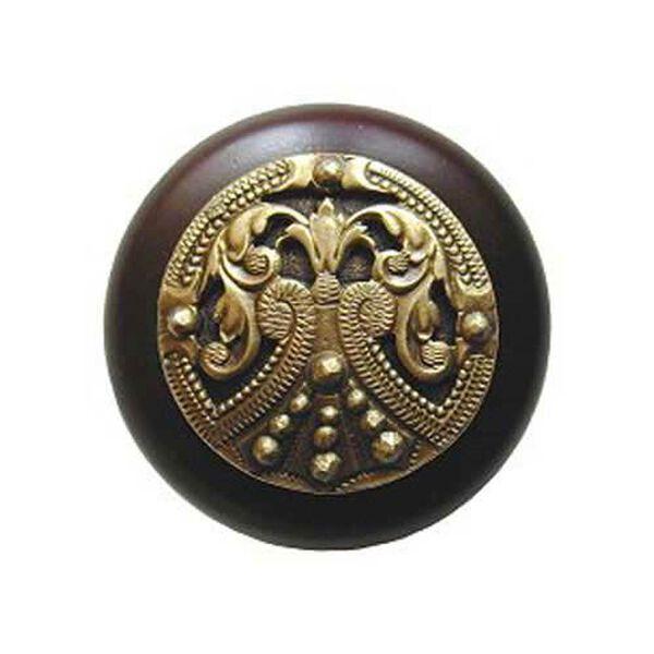 Dark Walnut Regal Crest Knob with Antique Brass, image 1