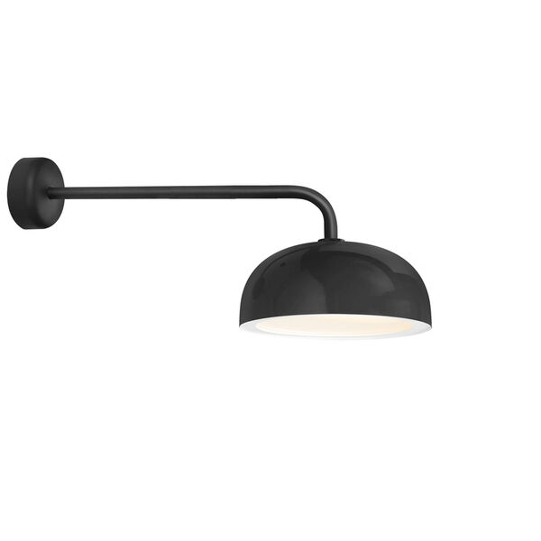 Dome Black One-Light 16-Inch Outdoor Wall Sconce with 30-Inch Arm, image 1