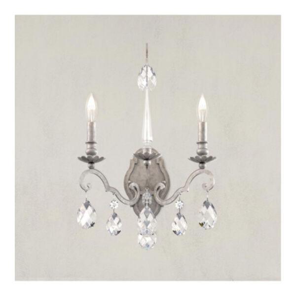 Renaissance Nouveau Antique Silver Two-Light Wall Sconce, image 2