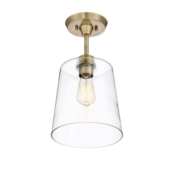 Nicollet Natural Brass 10-Inch One-Light Semi Flush Mount, image 4