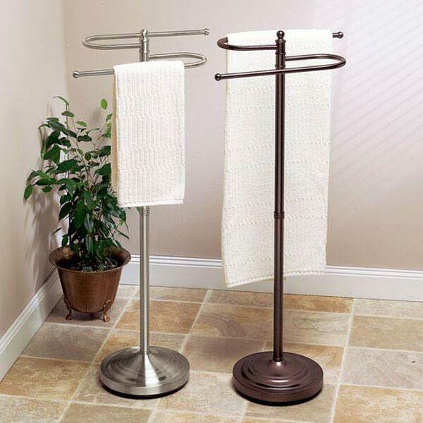 Satin Nickel Floor Standing S-Shaped Towel Rack - 38 Inches High, image 2