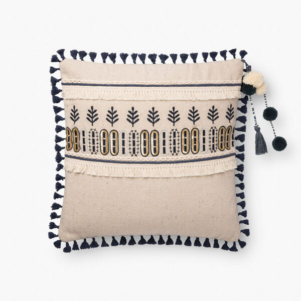 Natural Blue Cotton Polyester and Viscose 18 In. x 18 In. Throw Pillow Cover with Poly Insert, image 1
