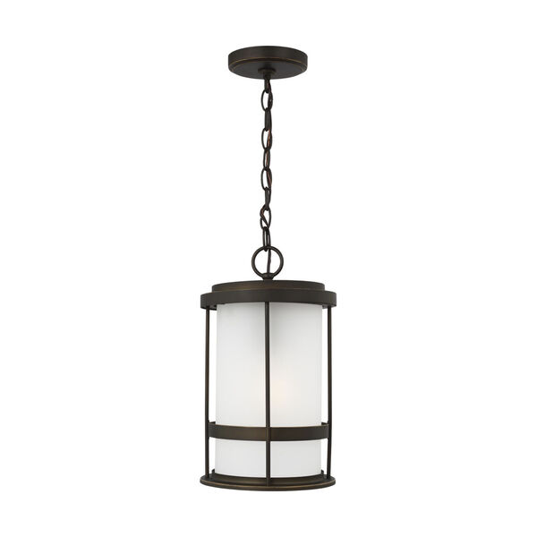 Wilburn Antique Bronze One-Light Outdoor Pendant with Satin Etched Shade Energy Star, image 1