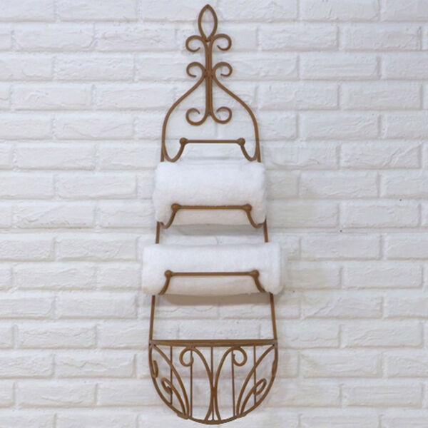 Rustic Iron Hanging Towel Rack w/ Basket, image 2