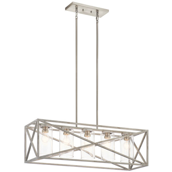 Moorgate Distressed Antique White Five-Light Chandelier, image 1