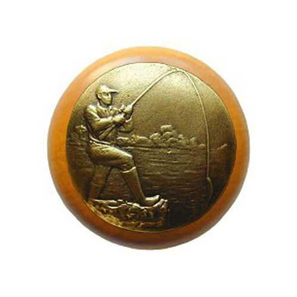 Maple Catch Of The Day Knob with Brass, image 1