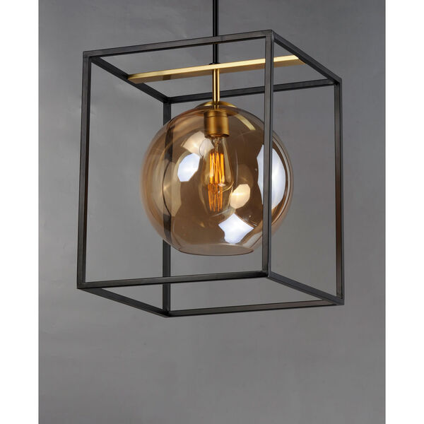 Fluid Black and Satin Brass 15-Inch LED Single Pendant, image 2