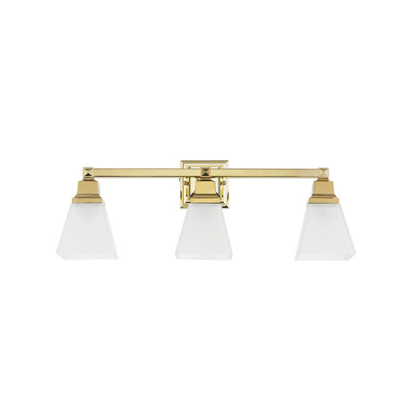 Mission Polished Brass 25.5-Inch Three-Light Bath Light, image 2