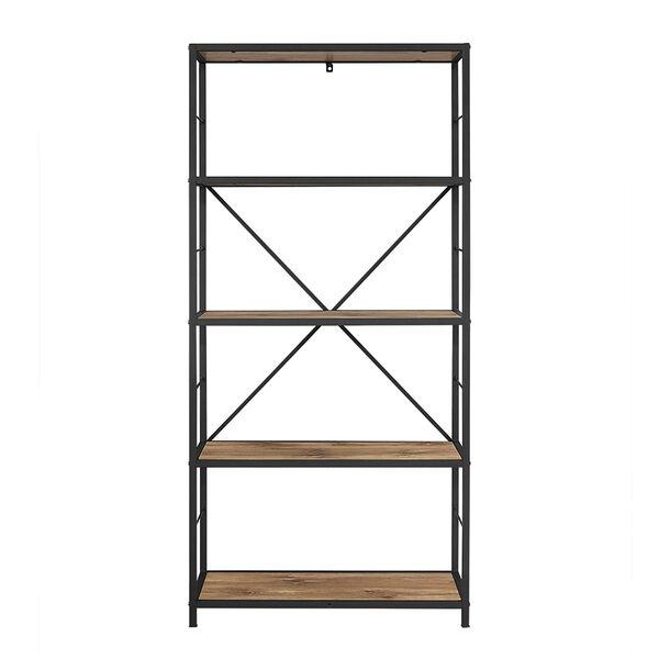 60-inch Rustic Metal and Wood Media Bookshelf - Barnwood, image 3