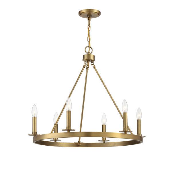 Linden Natural Brass Six-Light Chandelier, image 5