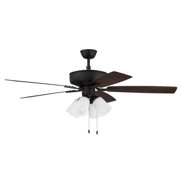 Pro Plus Espresso 52-Inch Four-Light Ceiling Fan with White Frost Bell Shade, image 4