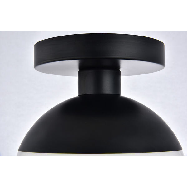 Eclipse Black and Frosted White Eight-Inch One-Light Semi-Flush Mount, image 6