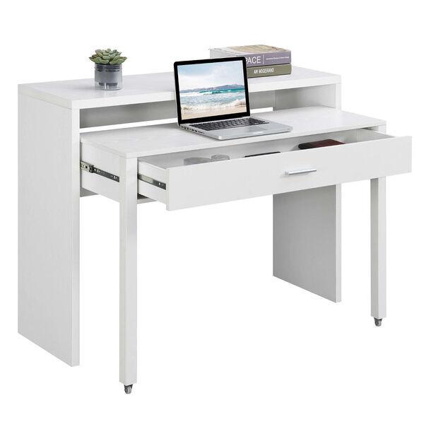 Newport JB White Sliding Desk with Drawer and Riser, image 3