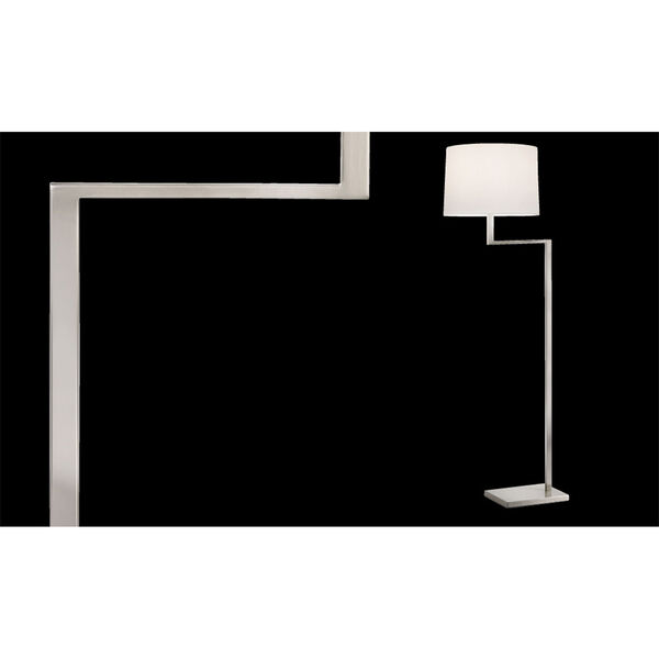 Thick Thin One-Light - Satin Nickel with White Cotton Shade - Floor Lamp, image 2