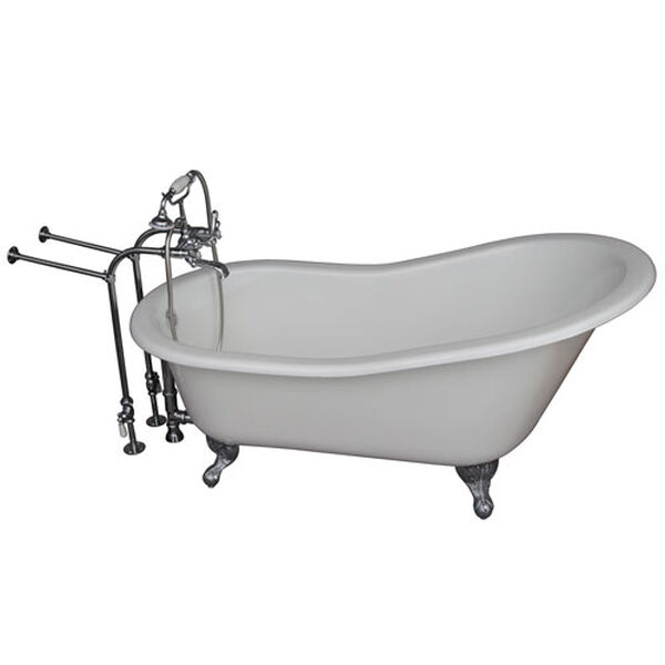 Polished Chrome Tub Kit 60-Inch Cast Iron Slipper, Tub Filler, Supplies, and Drain, image 1