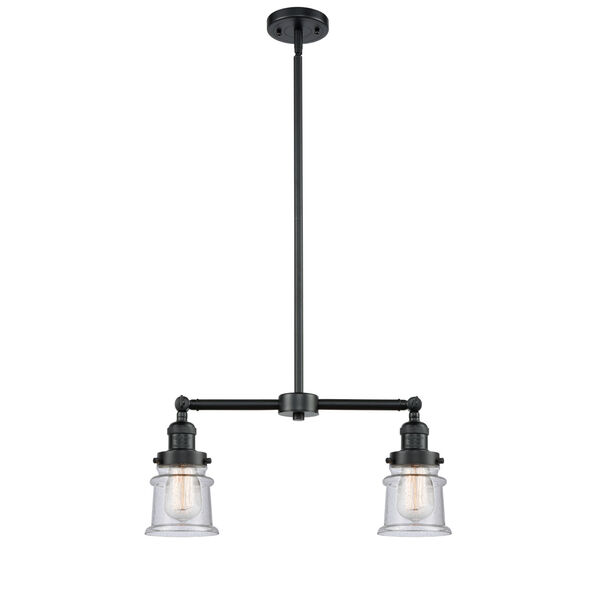 Franklin Restoration Oil Rubbed Bronze 10-Inch Two-Light LED Chandelier with Seedy Small Canton Shade, image 1