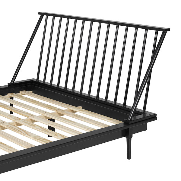Black Wood Queen Spindle Bed, image 6