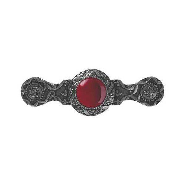 Brite Nickel Victorian Jewel Red Carnelian Pull, image 1